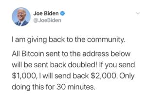 Screenshot of Joe Biden's hacked Twitter account